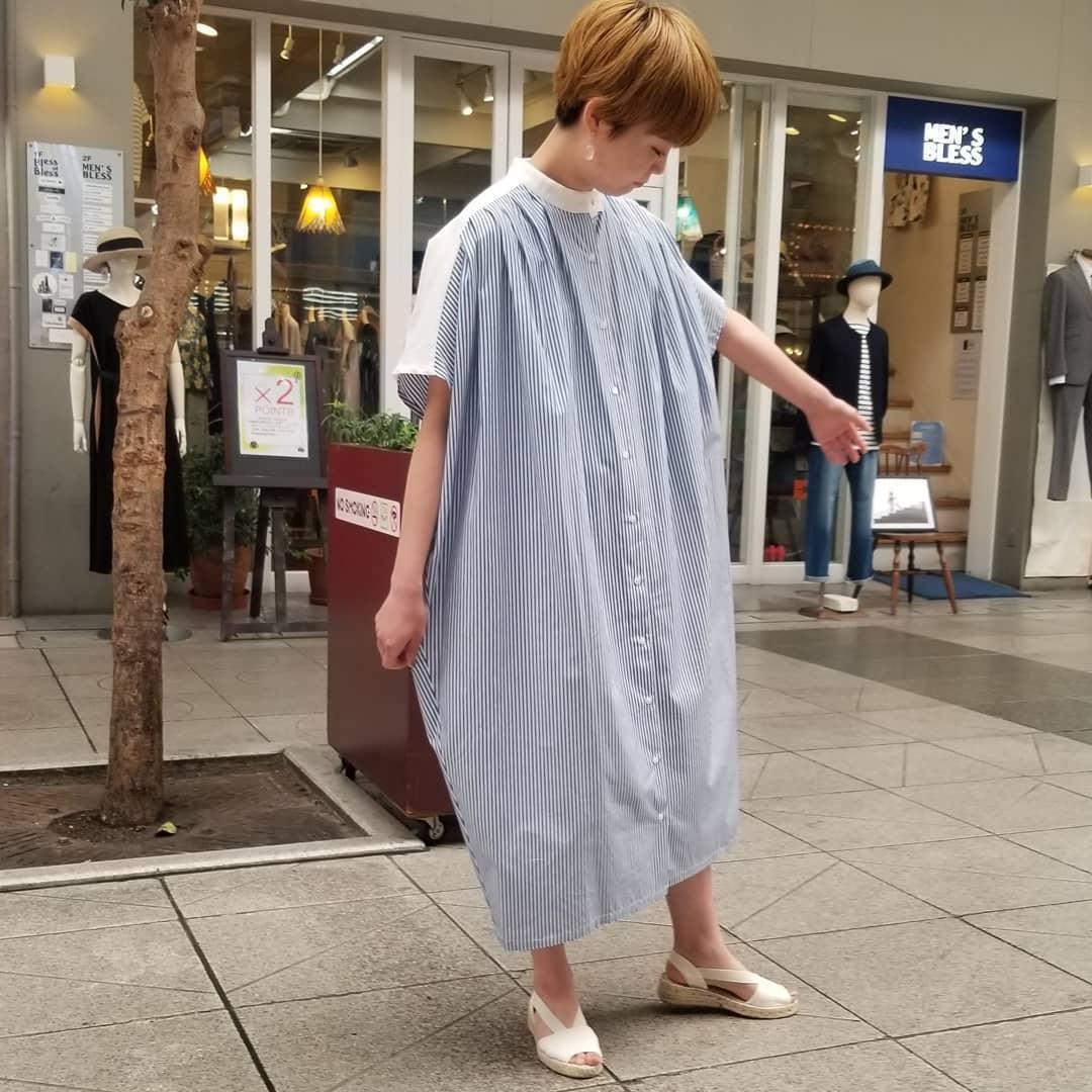 【Bless ONLINE STORE】mizuiro ind(ミズイロインド)のストライプシャツワンピです。色違いでモノトーンカラーのストライプもアリ!ちょっとモードで大人っぽいですヨ。#mizuiroind #shirtdress#2020 #今日のコーディネート #おしゃれさんと繋がりたい #セレクトショップ #愛媛 #松山 #松山市大街道 #BlessofBless - from Instagram